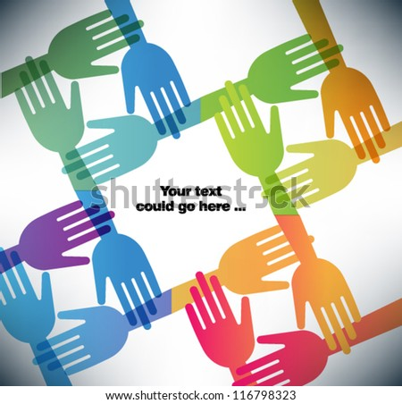 Large group of happy helping hands with copy space. EPS10 vector illustration  background presentation template.