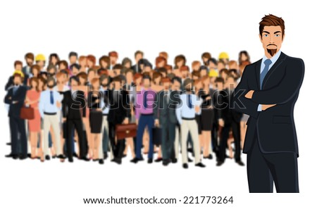 Large group of people adult professionals business team with attractive young man on foreground vector illustration
