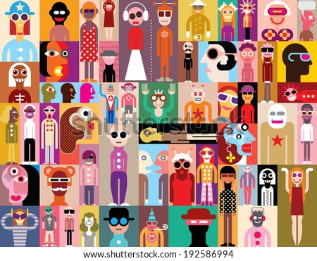 Large group of people. Art composition of abstract portraits - vector illustration. Can be used as seamless wallpaper. - stock vector