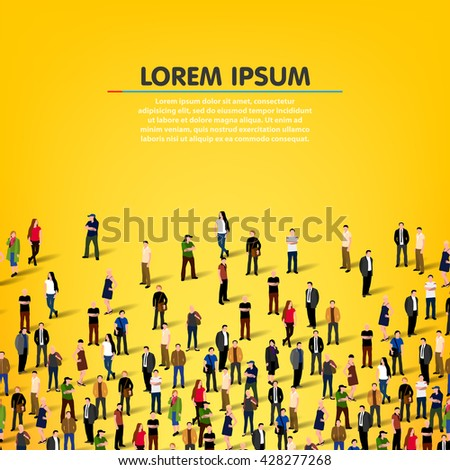 Large group of people background. Vector illustration - stock vector