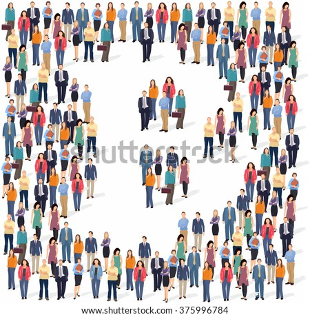 Large group of people forming the bitcoin sign. Vector illustration - stock vector