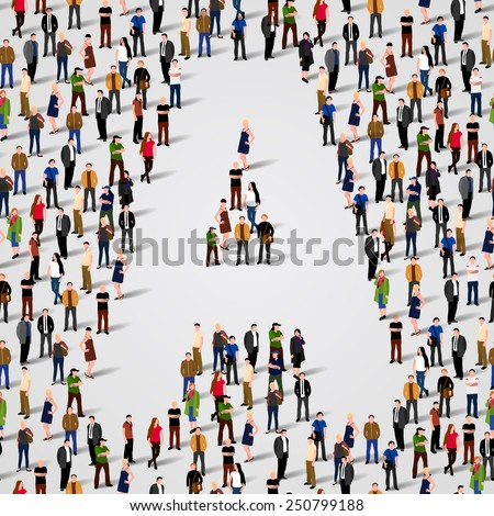Large group of people in letter A form. Vector seamless background - stock vector