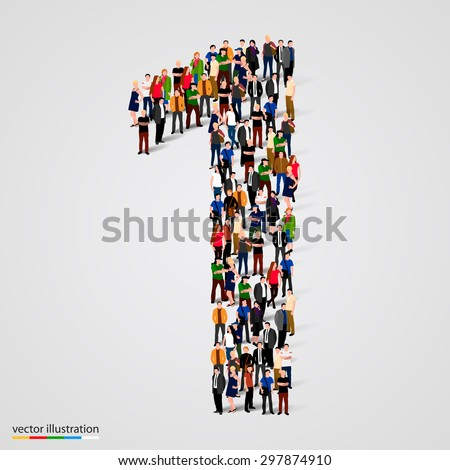 Large group of people in number 1 one form. Vector illustration - stock vector