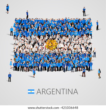 Large group of people in the shape of Argentine Republic flag. Argentina. Vector illustration - stock vector