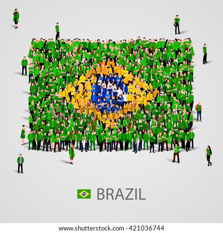 Large group of people in the shape of Brazilian flag. Federative Republic of Brazil. Vector illustration. - stock vector