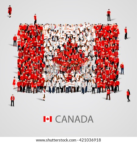 Large group of people in the shape of Canadian flag. Canada. Vector illustration - stock vector