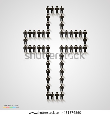 Large group of people in the shape of christian cross. Christian sign. Catholic background. Religious symbol. Vector illustration - stock vector
