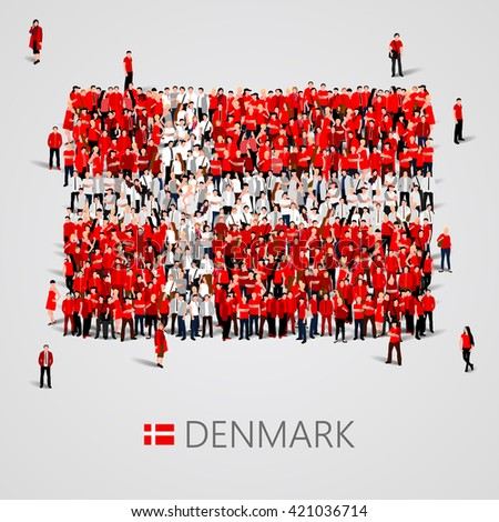 Large group of people in the shape of flag. Denmark. Denmark flag. Denmark flag art. Denmark flag image. Denmark flag picture. Denmark flag people. Denmark Flag vector. Vector illustration - stock vector
