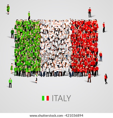 Large group of people in the shape of flag. Italy. Italy flag. Italy flag art. Italy flag image. Italy  flag picture. Italy flag people. Italy  flag EPS. Italy  Flag vector. Vector illustration - stock vector