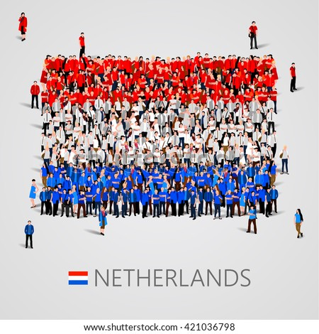 Large group of people in the shape of flag. Netherlands. Netherlands flag. Netherlands flag image. Netherlands flag picture. Netherlands flag people. Netherlands Flag vector. Vector illustration - stock vector