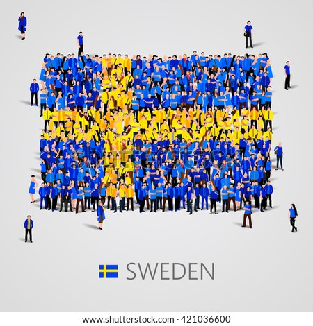 Large group of people in the shape of flag. Sweden. Sweden flag. Sweden flag art. Sweden flag image. Sweden flag picture. Sweden flag people. Sweden flag EPS. Sweden Flag vector. Vector illustration - stock vector