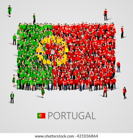 Large group of people in the shape of Portugal flag. Portuguese Republic. Vector illustration - stock vector