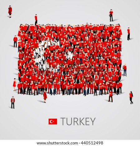 Large group of people in the shape of Turkish flag. Republic of Turkey. Vector illustration - stock vector