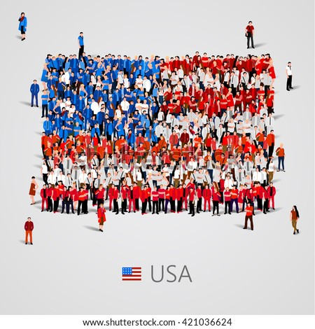 Large group of people in the shape of  United States of America flag. USA. Vector illustration - stock vector