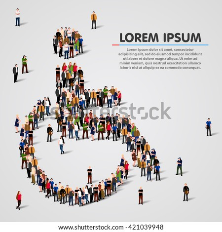 Large group of people in the shape of wheelchair. Vector illustration - stock vector