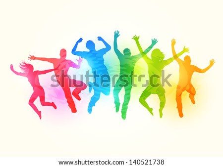 Large group of People Jumping - vector illustration - stock vector
