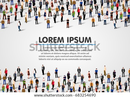 Large group of people on white background. Vector people background