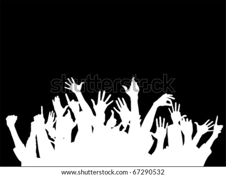 Large group of people raising hands  vector - stock vector