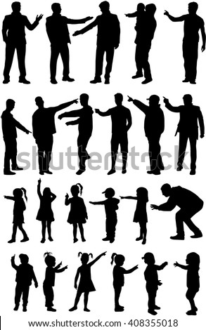 Large group of people. Silhouettes conceptual.