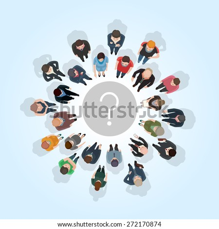 large group of people standing around a question mark - stock vector