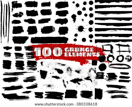 Large grunge elements set. Brush strokes, banners, borders, splashes, splatters.... Vector illustration - stock vector