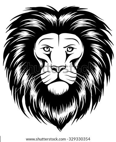Large Head of a wild ferocious african lion - stock vector