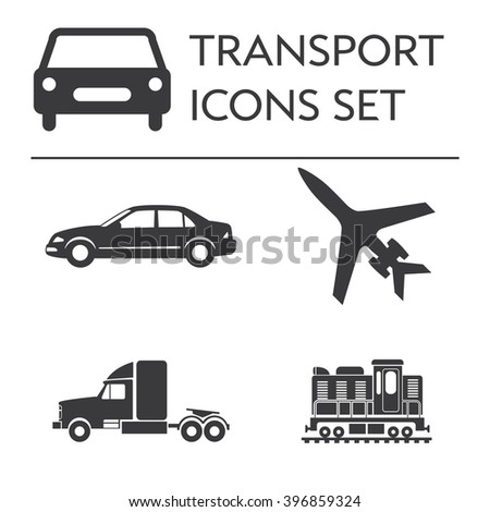 Large icons vehicle and transportation set. Silhouettes isolated on white background. Simple Vector illustration for design or application.
