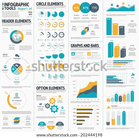 Large infographic vector elements template designers collection - stock vector