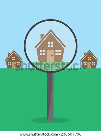 Large magnifying glass viewing house  - stock vector