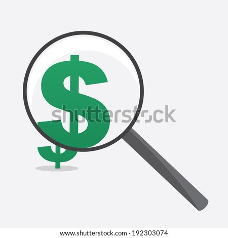 Large Magnifying glass with dollar sign