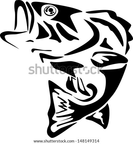 Large mouth bass - stock vector