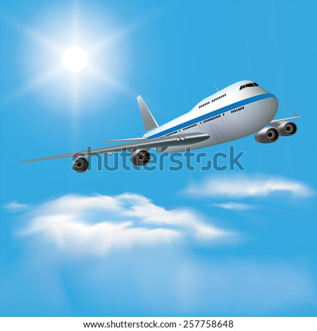 Large passenger plane flying in the blue sky. Vector illustration