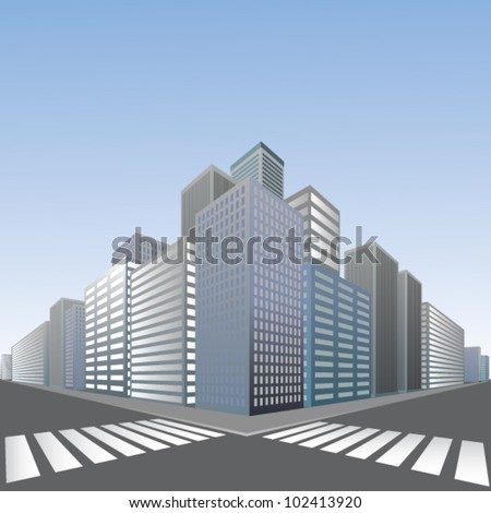Large pedestrian crossing in city - stock vector