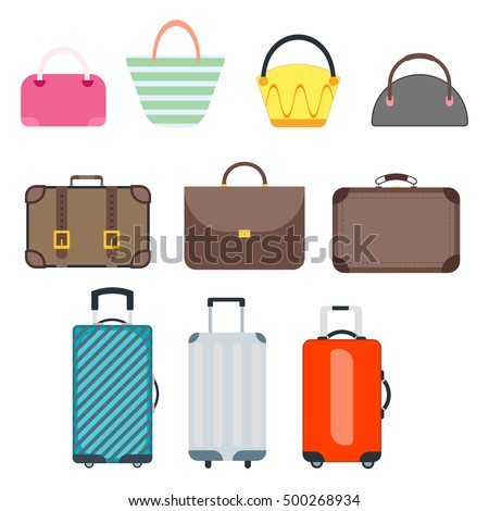 Large pile bags and suitcases travel. Journey trip baggage tourism travel bag accessory tourist voyage. Business summer luggage travel bag suitcase journey leather retro vector. Briefcase travel bag.