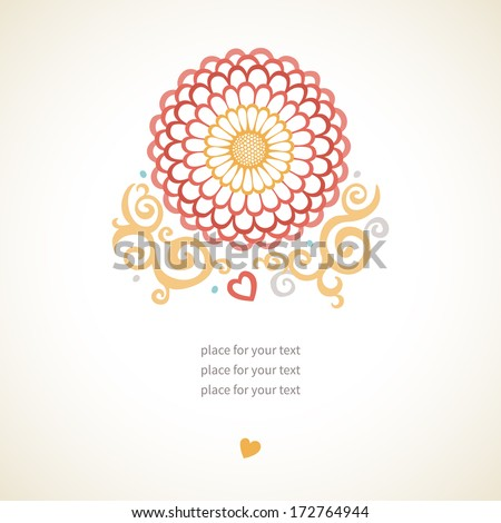 Large pink flower with decorative curls and a place for your text. It can be used for decorating of wedding invitations, greeting cards, decoration for bags and at tattoo creation. - stock vector