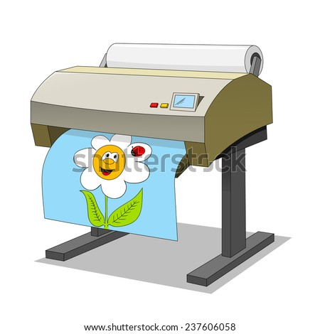 Large printer - stock vector
