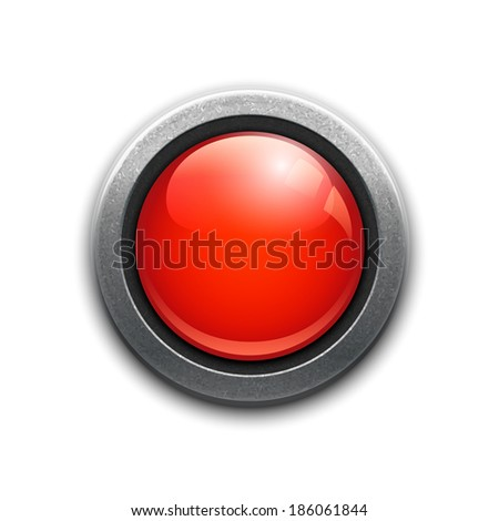 Large red button in a metal rim with reflections and drop shadow for a dimensional effect for use as an internet icon  power button  emergency or alert on a white background  square format vector - stock vector