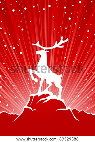 Large reindeer stay on rock, winter background with snow - stock vector