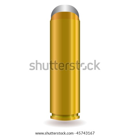 Large rifle bullet with silver tip and gold body - stock vector