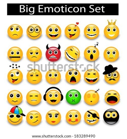 large Set a round yellow emoticons on a white background  - stock vector