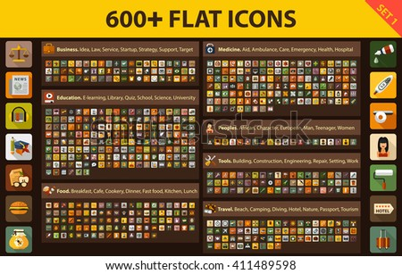 Large set flat icons for Web, Presentations, Interface design and Mobile Application. Building, Business, Education, E-learning, Food, Kitchen, Medicine, People, Quiz, Science, Start up, Tools, Travel - stock vector