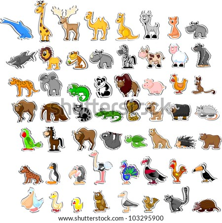 Large set of animals - stock vector