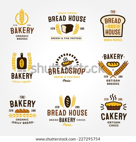 Large set of bakery and bread shop logos, labels, badges and design elements (bread, loaf, wheat ear, cake icons) - stock vector