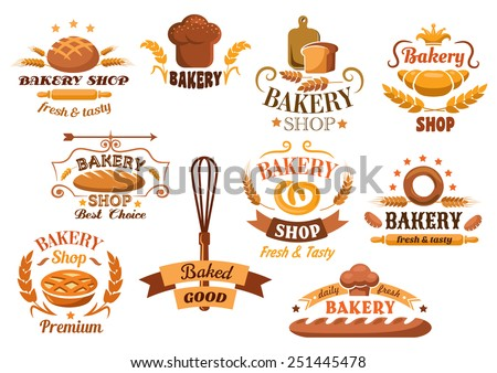 Large set of bakery labels or badges decorated with wheat, bread, tarts, croissant, baguette, pretzel, whisk, toque, and rolling pin with various texts - stock vector