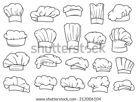 Large set of chefs toques, caps and hats in different shapes and designs, outline sketch style - stock vector