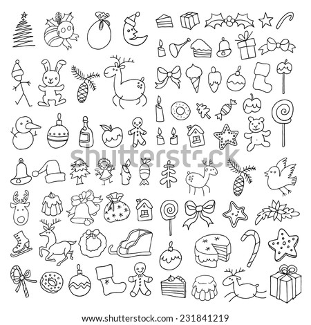 Large Set Of Christmas And Holiday Items Hand Drawing Vector Icons Stylish Line