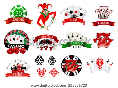 Large set of colored casino and poker icons or emblems with tokens, chips, playing cards, Joker and lucky numbers 777 - stock vector