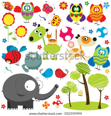 Large set of design elements over white background, animal, bird, insect and plants collection. - stock vector
