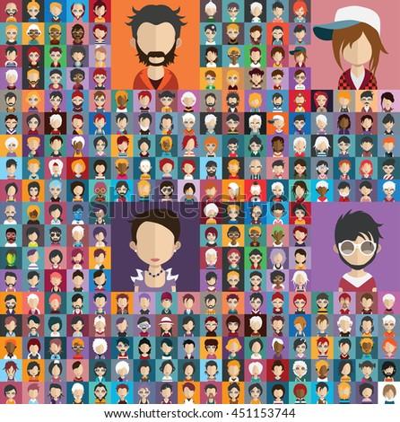 Large set of diferent avatars 2 - stock vector