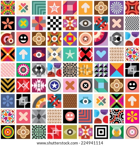 Large set of different abstract vector patterns and symbols. Seamless wallpaper. - stock vector